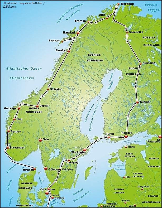 Skandinavienreise Nordkap Traumreise Schweden Finnland Norwegen