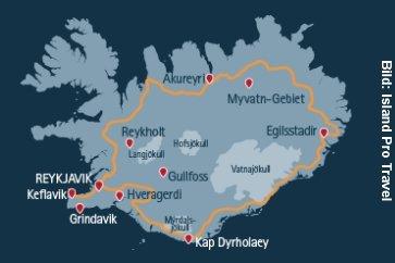 Island Winter Busreise Eiswelten Karte