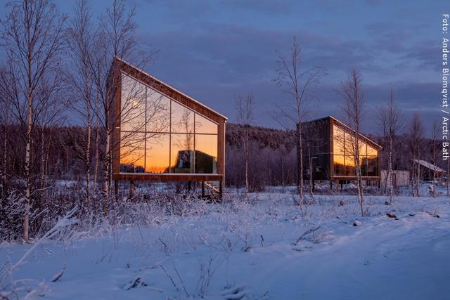 Artic Bath Spahotel Lappland - Landhütte & Landsuite von Außen