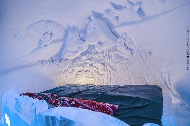 Schneehotel Norwegen - kaltes Zimmer im Schneehotel