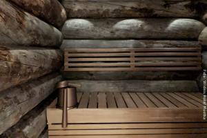 Sauna in Blockhütte am Fluss