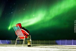 Polarlichter Hurtigrutenschiff