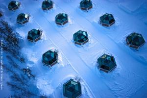 Schneehotel und Glasiglus Finnland - Glasiglus von oben