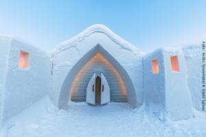Schneehotel und Glasiglus Finnland - Eingang