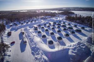 Schneehotel und Glasiglus Finnland - von oben