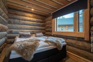 Blockhütte mit Doppelbett