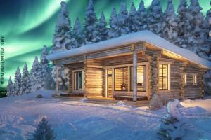 Panorama Blockhütte mit Nordlichtern